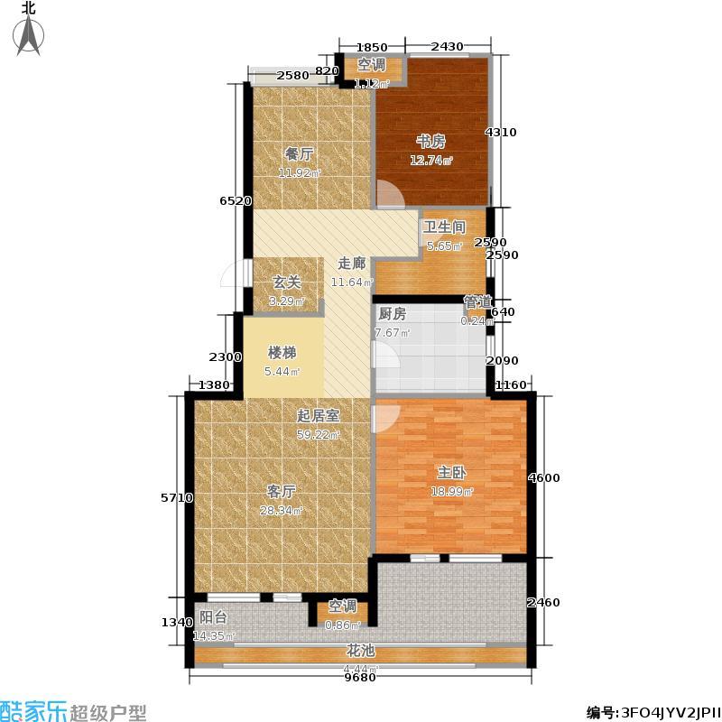 金地自在城137.00㎡三期8+1F中间套下层户型