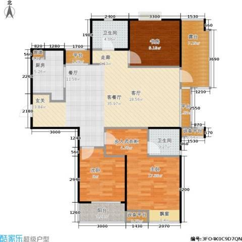 国泰花园3室1厅2卫1厨135.00㎡户型图