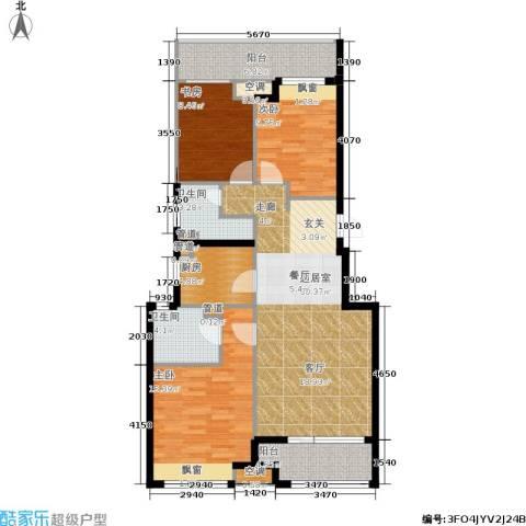 金地自在城3室0厅2卫1厨101.00㎡户型图