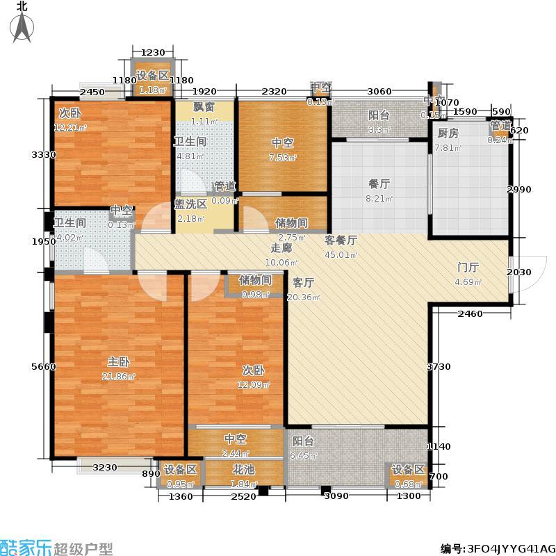 金地自在城143.00㎡四期尚层别院5号楼标准层B2-1户型