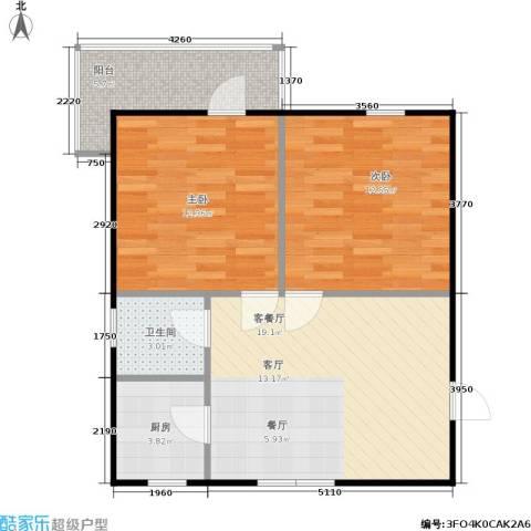 良渚花苑新村2室1厅1卫1厨61.00㎡户型图