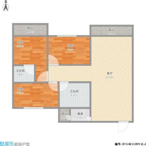 中山港-群英华庭3室1厅2卫1厨75.00㎡户型图
