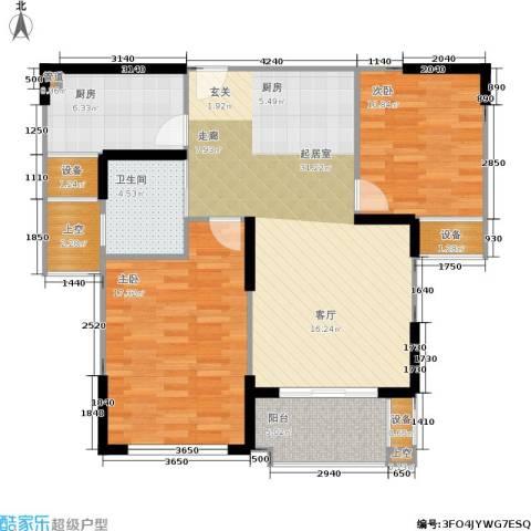 橘郡2室0厅1卫1厨90.00㎡户型图