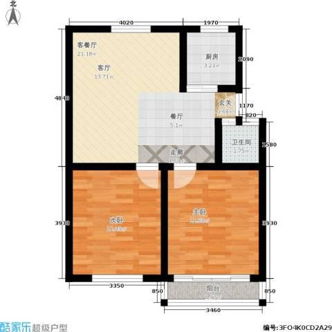 花园铁路新村2室1厅1卫1厨60.00㎡户型图