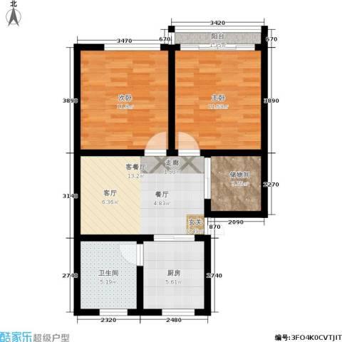 闸弄口东村2室1厅1卫1厨62.00㎡户型图