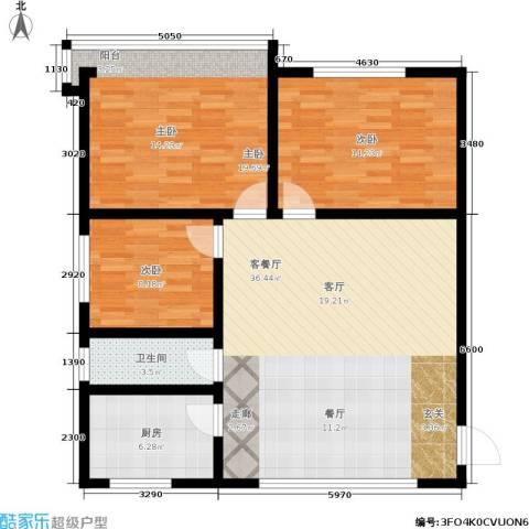 闸弄口东村3室1厅1卫1厨96.00㎡户型图