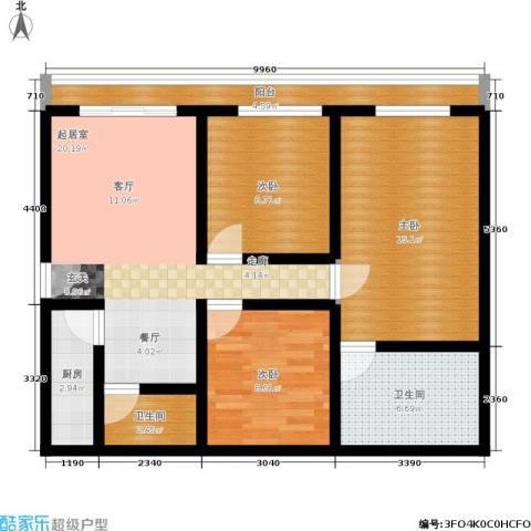天运花园3室0厅2卫1厨84.00㎡户型图