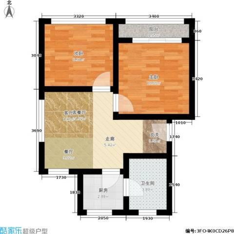 花园铁路新村2室1厅1卫1厨50.00㎡户型图
