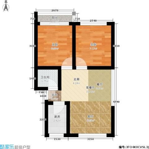 闸弄口东村2室1厅1卫1厨42.00㎡户型图