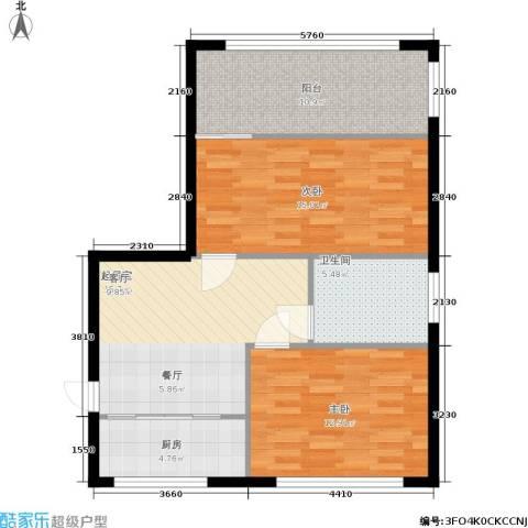 采荷青荷苑2室0厅1卫1厨72.00㎡户型图