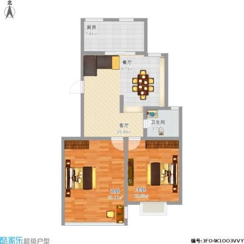 浦江颐城2室1厅1卫1厨100.00㎡户型图