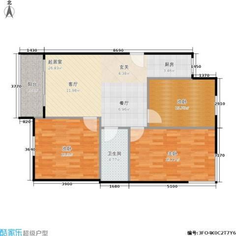 裕园公寓3室0厅1卫0厨81.00㎡户型图