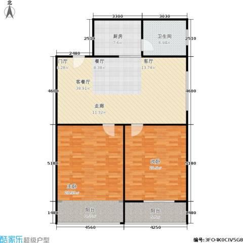 中江花园2室1厅1卫1厨115.00㎡户型图