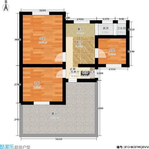 树园3室1厅1卫1厨57.00㎡户型图