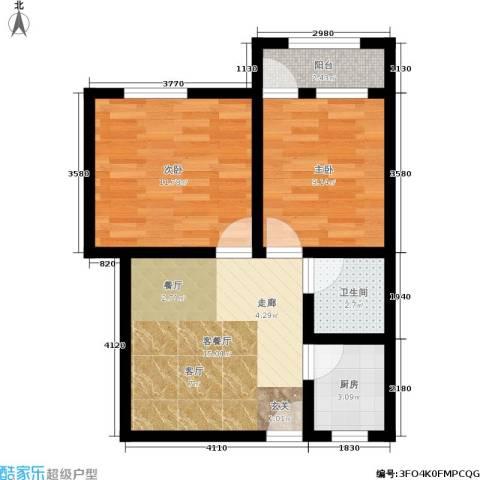 树园2室1厅1卫1厨52.00㎡户型图