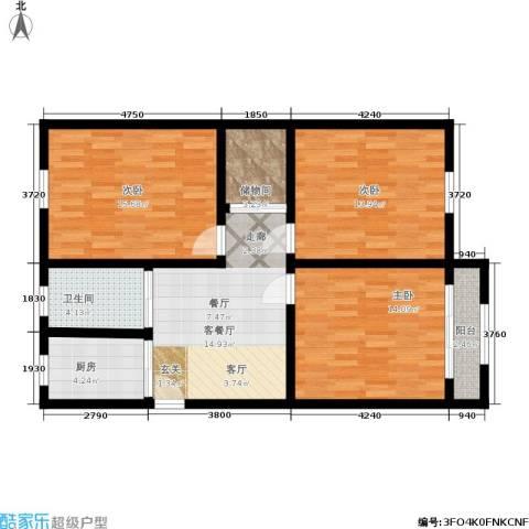 景芳三区3室1厅1卫1厨80.00㎡户型图