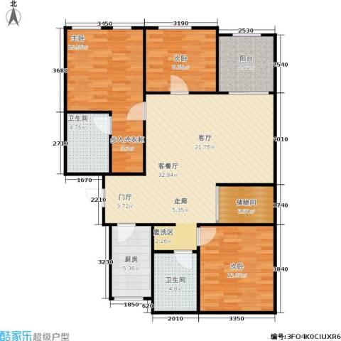 中江花园3室1厅2卫1厨101.00㎡户型图
