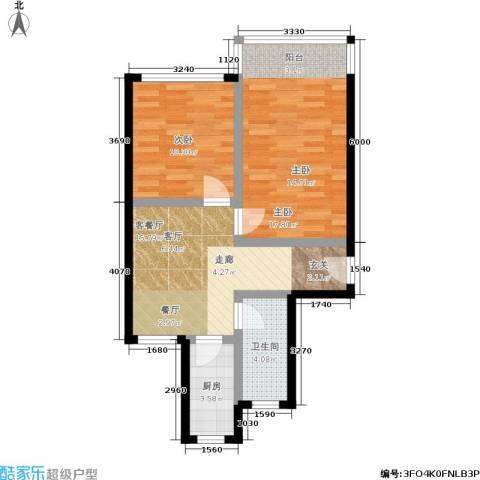 景芳三区2室1厅1卫1厨60.00㎡户型图
