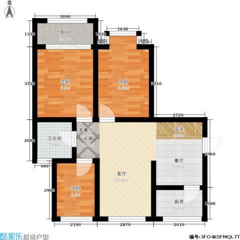 树园3室1厅1卫1厨68.00㎡户型图