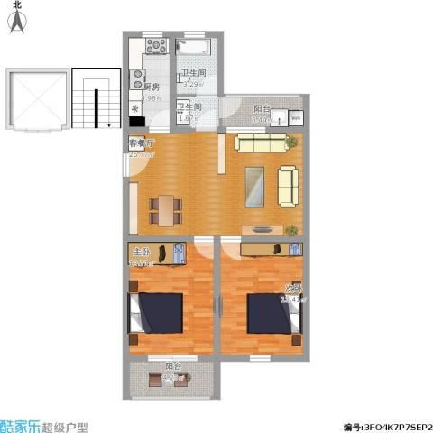 鑫龙佳苑2室1厅2卫1厨102.00㎡户型图