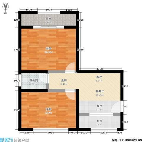 机神新村2室1厅1卫1厨66.00㎡户型图