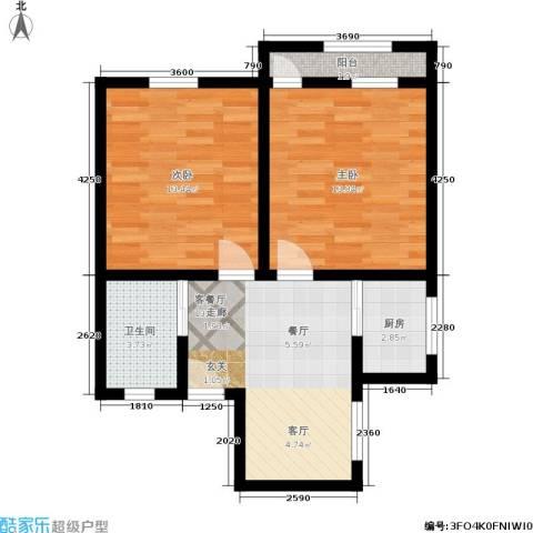 景芳三区2室1厅1卫1厨55.00㎡户型图