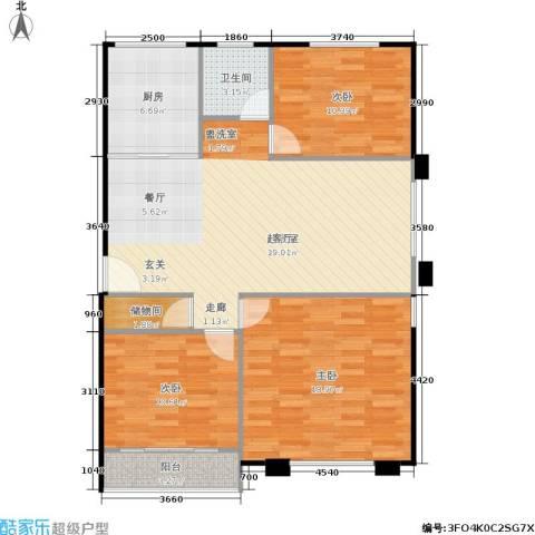 裕园公寓3室0厅1卫1厨92.00㎡户型图