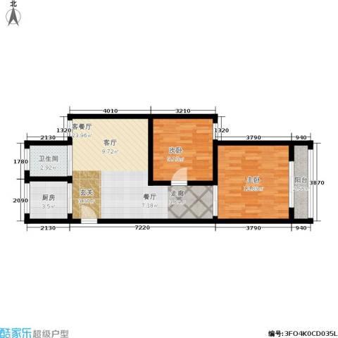 花园铁路新村2室1厅1卫1厨61.00㎡户型图