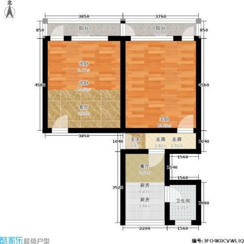 闸弄口东村2室0厅1卫1厨56.00㎡户型图