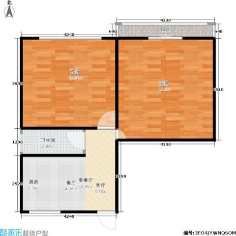 采荷芙蓉2室1厅1卫0厨55.00㎡户型图