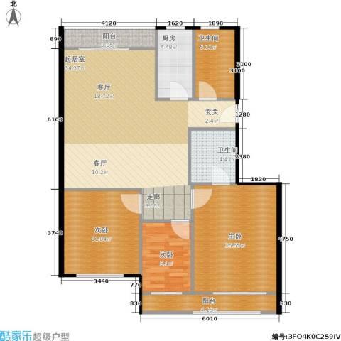 裕园公寓3室0厅2卫1厨90.47㎡户型图