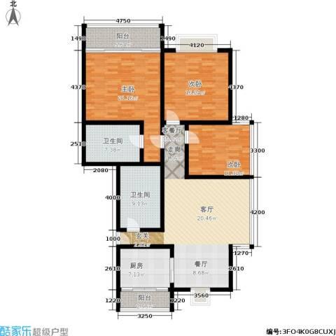 蓝天城市花园3室1厅2卫1厨135.00㎡户型图