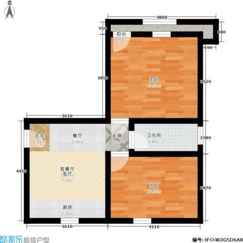 采荷紫藕2室1厅1卫0厨53.00㎡户型图