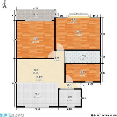 施家桥3室1厅1卫1厨90.00㎡户型图