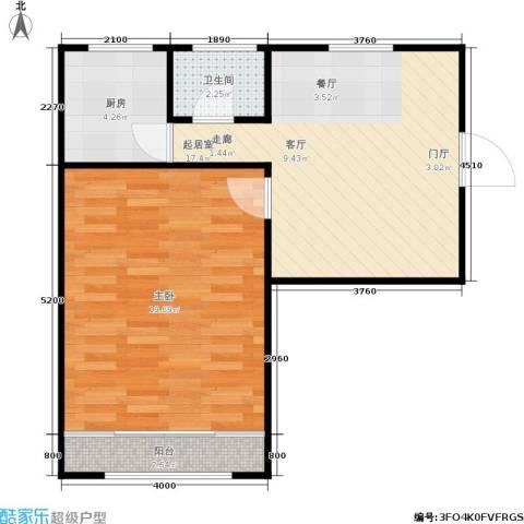 闸弄口新村1室0厅1卫1厨50.00㎡户型图