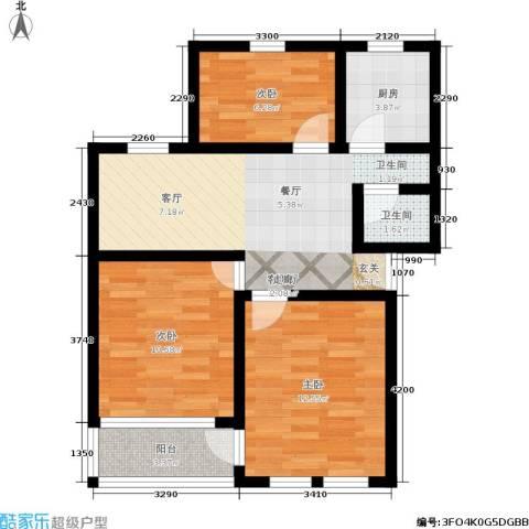 采荷紫藕3室1厅1卫1厨65.00㎡户型图