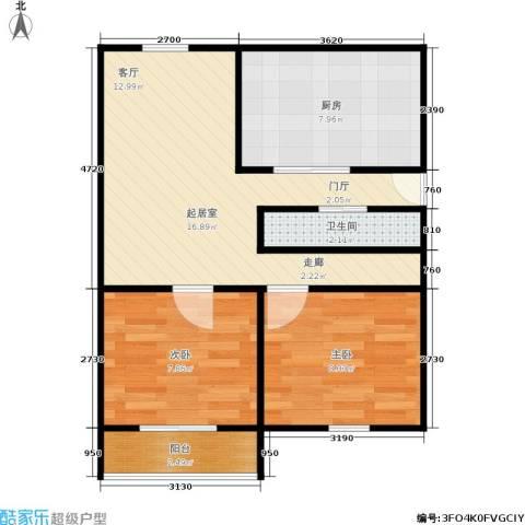 闸弄口新村2室0厅1卫1厨50.00㎡户型图
