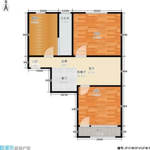 闸弄口新村2室1厅1卫1厨62.00㎡户型图