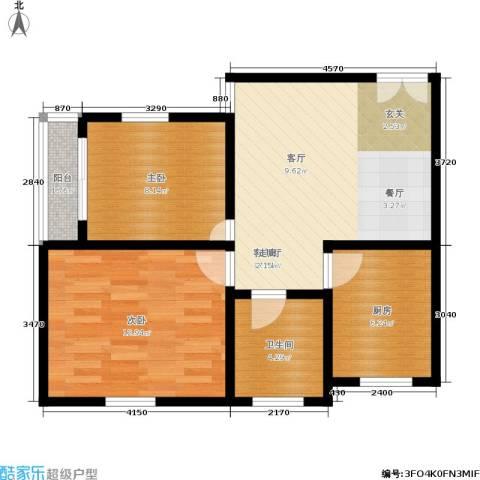景芳二区2室1厅1卫1厨58.00㎡户型图