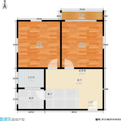 闸弄口新村2室0厅1卫1厨55.00㎡户型图