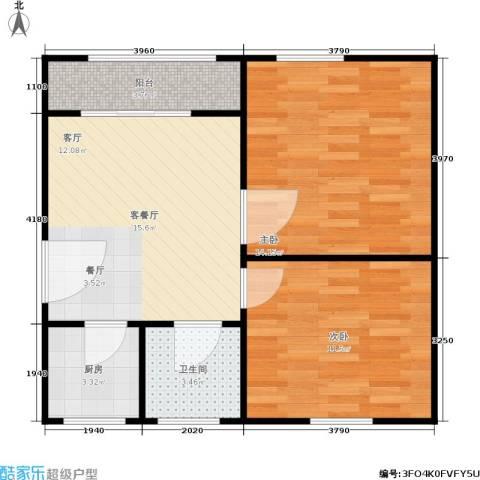 闸弄口新村2室1厅1卫1厨56.00㎡户型图