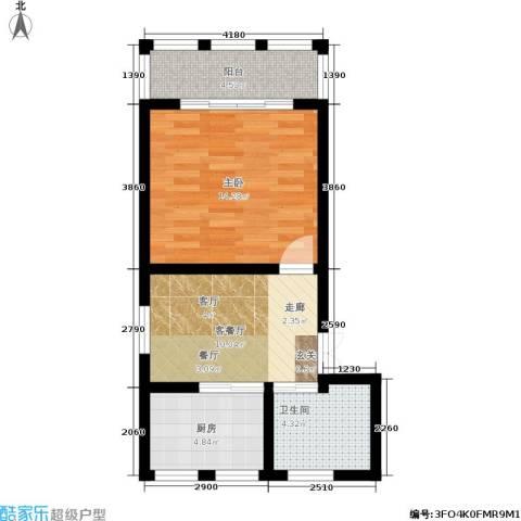 树园1室1厅1卫1厨45.00㎡户型图