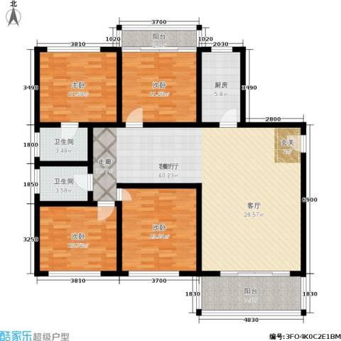 西湖新城4室1厅2卫1厨131.00㎡户型图