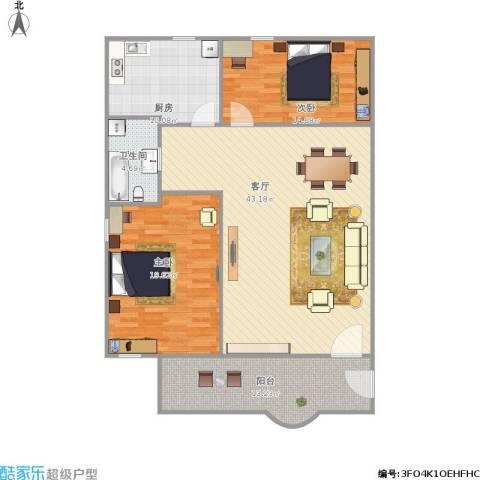 竹苑新村2室1厅1卫1厨139.00㎡户型图