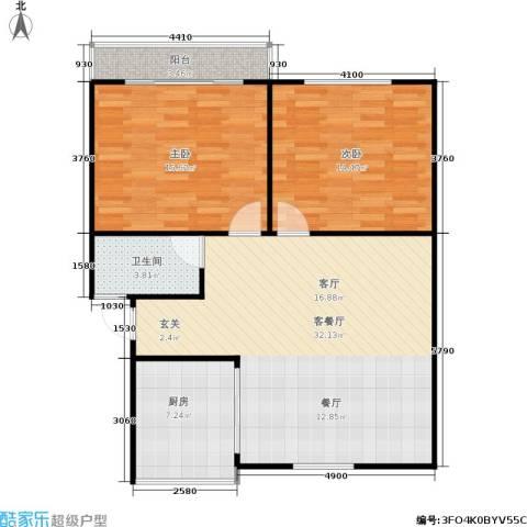 施家桥2室1厅1卫1厨82.00㎡户型图