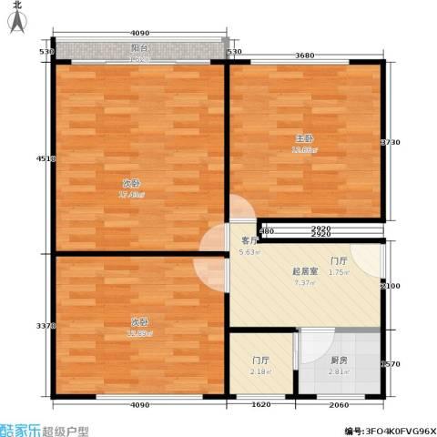 闸弄口新村3室0厅0卫1厨62.00㎡户型图