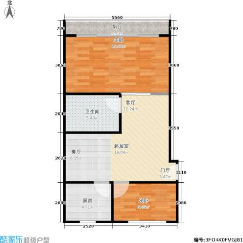 闸弄口新村2室0厅1卫1厨60.00㎡户型图