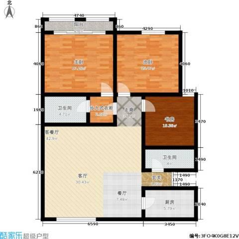 蓝天城市花园3室1厅2卫1厨121.00㎡户型图