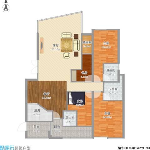 锦绣华庭4室1厅3卫1厨165.00㎡户型图