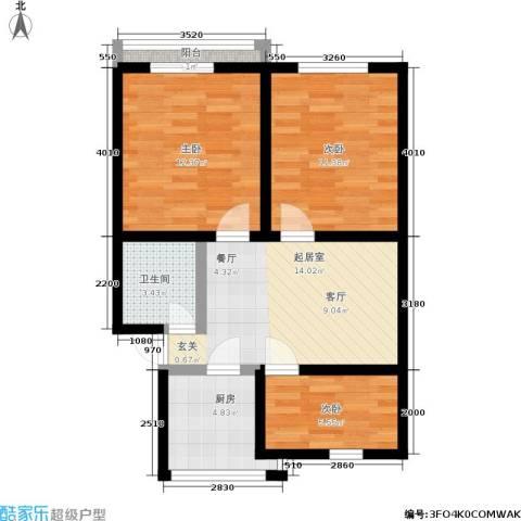 采荷翠柳3室0厅1卫1厨62.43㎡户型图